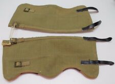 British Khaki Canvas Leggings Gators w brass buckles  sz 1 = 13inches  Pair M528