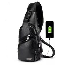 Crossbody Chest Bag USB Charging Port complete with USB cable.