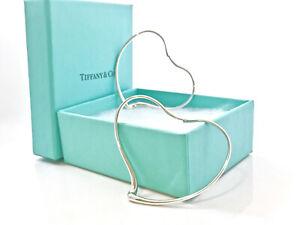 """Tiffany & Co Large 2"""" Love Heart Hoop Earrings Peretti Sterling Silver Gift 21D"""