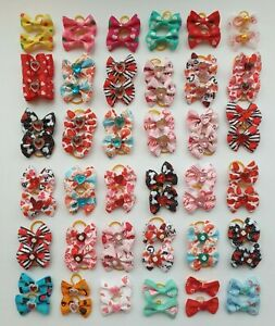 Valentines Day Love Hearts Dog & Puppy Pair of Hair Bands Top Knot Grooming Bows