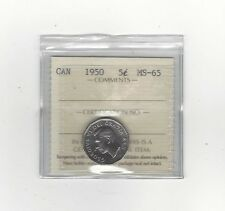 **1950**, ICCS Graded Canadian, Five Cent, **MS-65**