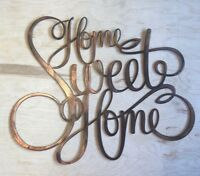 Home Sweet Home Wall Metal Art with Rustic Copper Finish Hanging