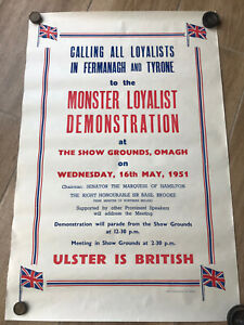 1951 Ulster Loyalist Unionist Fermanagh Tyrone Poster Basil Brooke Prime Minster