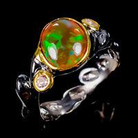 Black Opal Ring Silver 925 Sterling Beauty Rainbow10x8mm Size 8.25 /R128956
