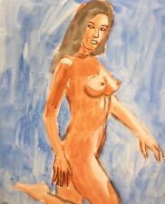 Vintage watercolor painting impressionist nude woman portrait