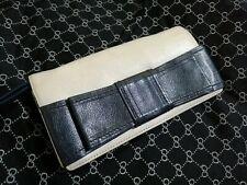 Kate Spade Villabella Avenue Mara Leather Cream Blue Bow Wallet Clutch Wristlet