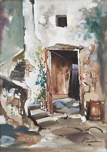 Quadro Vintage Dipinto Olio su tela firmato Scorcio di Paese Case Antico Borgo