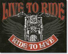 LIVE TO RIDE MOTORBIKE METAL TIN SIGN VINTAGE RETRO F.U.M. TOOLS FUM