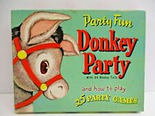 Vtg 1952 Pin the Tail on the Donkey Party complete Game Whitman bold colors