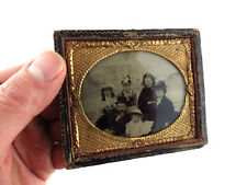 More details for antique ambrotype/collodion photograph~family group at seaside~pipe/bowler hat