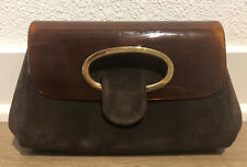Vintage Gucci Lucite brown and gold suede clutch 70's style