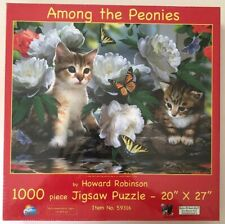 Among the Peonies 1000 piece Kittens Cats Butterfly flower jigsaw puzzle NEW