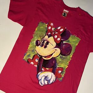 Vintage 90s Disney Minnie Mouse t-shirt Paint Brush Made In USA Large Pink Rare