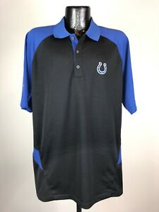 Men's Reebok Play Dry Black Indianapolis Colts NFL Football Sideline Polo Large
