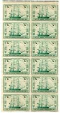 BLOCK OF 12 (3) CENT POSTAGE STAMPS 1947 U.S. FRIGATE CONSTITUTION SHIP VINTAGE