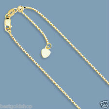 "Up to 30"" Solid Adjustable Venetian Box Chain Necklace Real 14K Yellow Gold"