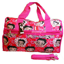 """Betty Boop Face CANVAS 19"""" Duffel travel L shoulder bag sport PINK RED overnight"""