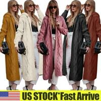 Womens Chunky Knitted Hooded Longline Cardigan Jumper Sweater Thick Jacket Coats