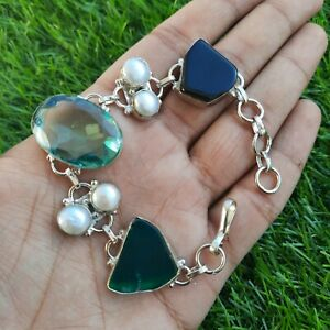 silver plated gemstone bracelet,gift for her, christmas gift,stone bracelet,love