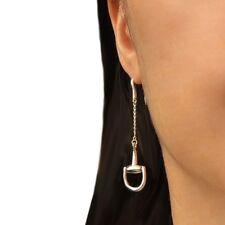 Horsebit Snaffle Long 925 Sterling Silver Chain Drop Earrings Gift Boxed