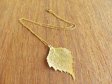 Birch Leaf Pendant, Leaf Gold Plated Pandant, Real Leaf Necklace, Edel-Heid
