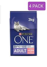Purina ONE Adult Dry Cat Food Salmon and Wholegrain 3kg , Pack of 4 (12kg)*
