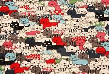 Cat Kitten Laminated Oxford Cotton Fabric made in Korea By the Yard