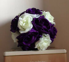 6 Inches Purple & Ivory Rose Flower Pomander Wedding Ball - USA Seller