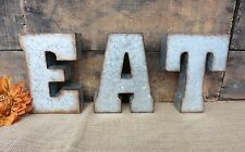 """Galvanized 7"""" METAL EAT = Marquee Wall Decor Kitchen Cafe Farmhouse LETTER Sign"""