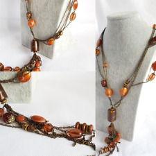 PENDANT NECKLACE BIJOUX BOHO STYLE. Antique Gold Tone Brown Amber Style Beads