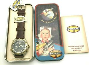 Vintage Galaxy Ranger Fossil Watch Original Tin Papers Tags Unworn Sold As Found