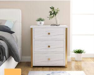 3 Drawers Bedside Table Nightstand Cabinet Bedroom Storage Home White Metal&Wood