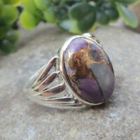 Purple Copper Turquoise Ring Sterling Solid Silver Jewelry - Size 8