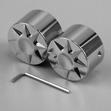 Pair Front Axle Nut Bolt Cover Chrome for Harley Touring Softail Road King FLTR
