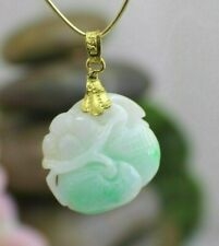 Solid 24K Yellow Gold Carved Green Jade Flower Pendant Stunning