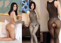 Lady Bodystocking Sleeveless Footless Shiny Nylon Pantyhose Open Crotch