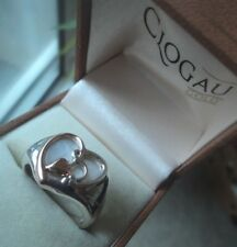 Clogau Welsh Silver & 9ct Rose Gold Mother Of Pearl  HEART Ring  -  size S