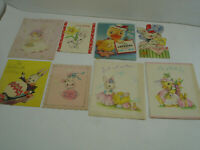 Vintage LOT OF 8 CHILD Easter Cards 1940's Bunny and Ducks