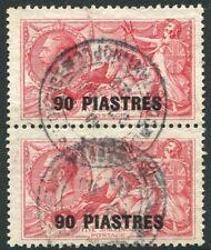BRITISH LEVANT-1921 90 pi on 5/- Rose-Carmine vertical pair Sg 49 FINE USED