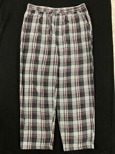 NAUTICA Mens Size XL Black/ Gray Red Plaid Flannel Pajama Lounge Pants
