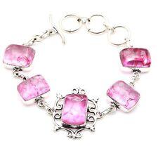 """Silver Plated Bracelet 7.9"""", S-6314 Cracked Quartz & Handmade 925"""