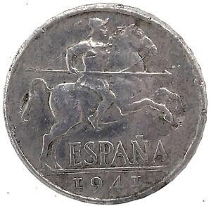 Spain 10 Centimos 1941 PLVS with V  KM 766 Rare  Aluminum  Coin.