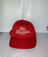 Vintage Old Milwaukee Beer Snapback Trucker Hat Cap Foam Front Mesh Back Red