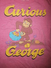 CURIOUS GEORGE T SHIRT Easter Egg Hunt Garden Flower Pink Monkey Girls Small 6-7
