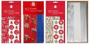 CHRISTMAS GIFT WRAP TISSUE PAPER * 2 x 10 Sheet Packs 75cm x 50cm * 4 Choices