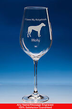 Rhodesian Ridgeback Dog Gift Personalised Engraved Fine Quality Wine Glass