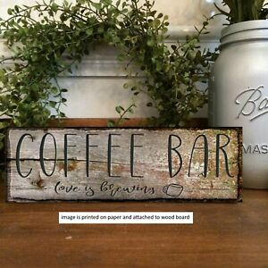 Rustic Sign Coffee Bar Love Brewing  Welcome Farmhouse  Decor PRINT b