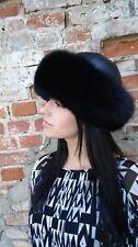 Black fox fur roller winter hat for women.SagaFurs