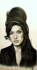 Amy Winehouse - ritratto portrait grafite e carboncino cm. 50 x 80