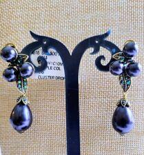 Heidi Daus Blueberry Cluster Crystal Drop Earrings NWT